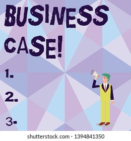 Conceptual hand writing showing Business Case. Business photo showcasing provides justification for undertaking a project or program Businessman Looking Up, Holding and Talking on Megaphone.