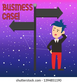 Conceptual hand writing showing Business Case. Business photo text provides justification for undertaking a project or program Man Confused with Road Sign Pointing to Opposite Direction.
