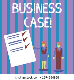 Conceptual hand writing showing Business Case. Business photo showcasing provides justification for undertaking a project or program Man and Woman Presenting Report of Check and Lines on Paper.