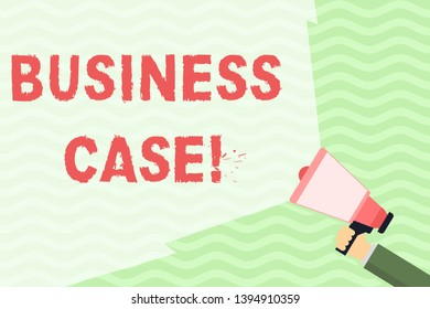 Conceptual hand writing showing Business Case. Business photo showcasing provides justification for undertaking a project or program Hand Holding Megaphone with Wide Beam Extending the Volume.