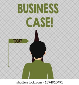 Conceptual hand writing showing Business Case. Business photo text provides justification for undertaking a project or program Man Facing Distance and Blocking the View of Straight Narrow Path.