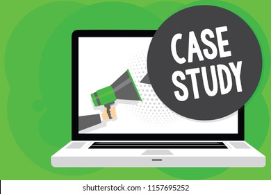 Conceptual hand writing showing Case Study. Business photo text A subject matter to be discussed and related to the topic Man holding Megaphone loudspeaker computer screen speech bubble.