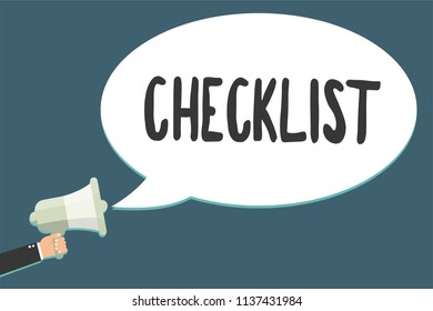 Conceptual hand writing showing Checklist. Business photo showcasing List down of the detailed activity as guide of doing something Megaphone loudspeaker scream idea talk talking speech bubble.