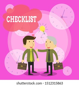 Conceptual hand writing showing Checklist. Business photo text List down of the detailed activity as guide of doing something Businessmen Colleagues with Brief Case Sharing Idea Solution.