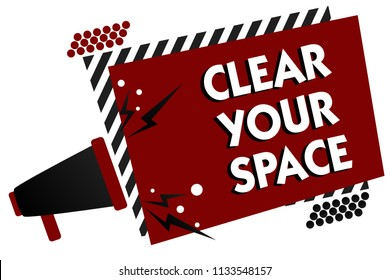 Conceptual hand writing showing Clear Your Space. Business photo text Clean office studio area Make it empty Refresh Reorganize Multiple text pattern red rectangle plate sound speaker design.