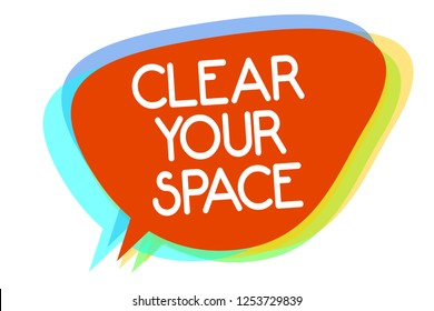 Conceptual hand writing showing Clear Your Space. Business photo showcasing Clean office studio area Make it empty Refresh Reorganize Multiline text layer design pattern red background think.