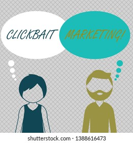 Conceptual hand writing showing Clickbait Marketing. Business photo showcasing Online content that aim to generate page views Bearded Man and Woman with the Blank Colorful Thought Bubble.