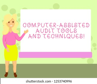 Conceptual hand writing showing Computer Assisted Audit Tools And Techniques. Business photo showcasing Modern auditing applications Female Hu analysis Presenting Rectangular Blank Whiteboard.