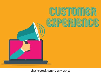 Conceptual hand writing showing Customer Experience. Business photo text Interaction between Satisfied Customer and Organization
