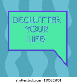 Conceptual hand writing showing Declutter Your Life. Business photo showcasing remove unnecessary items from untidy overcrowded place Blank Deformed Color Round Shape with Small Circles.