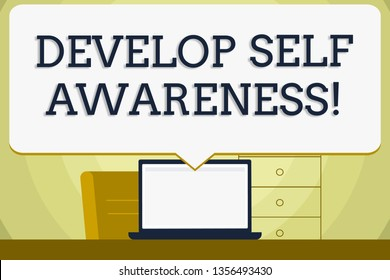 Conceptual hand writing showing Develop Self Awareness. Business photo showcasing What you think you become motivate and grow Blank Huge Speech Bubble Pointing to the White Laptop Screen.