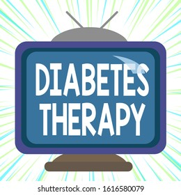 Conceptual hand writing showing Diabetes Therapy. Business photo text aim to achieve lower average blood glucose results Square rectangle unreal cartoon wood on the coloured wall.