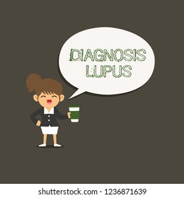 Conceptual hand writing showing Diagnosis Lupus. Business photo showcasing Urine examination show an increase of protein level