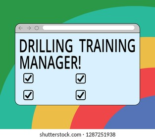 Conceptual hand writing showing Drilling Training Manager. Business photo text Give the staff the understanding drilling process Monitor Screen with Progress Control Bar Blank Text Space.