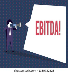 Conceptual hand writing showing Ebitda. Business photo text Earnings before tax is measured to evaluate company perforanalysisce.