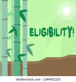 Conceptual hand writing showing Eligibility. Business photo text State of having the right for doing or obtain something Proper Colorful Set of Leafy Bamboo and Moon or Sun with Round Beam.