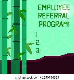 Conceptual hand writing showing Employee Referral Program. Business photo showcasing Recommend right jobseeker share vacant job post Colorful Set of Leafy Bamboo and Moon or Sun with Round Beam.