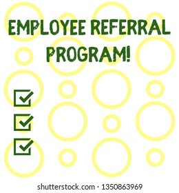 Conceptual hand writing showing Employee Referral Program. Business photo showcasing Recommend right jobseeker share vacant job post Seamless Pattern of Loop Rings in Random on White Isolated.