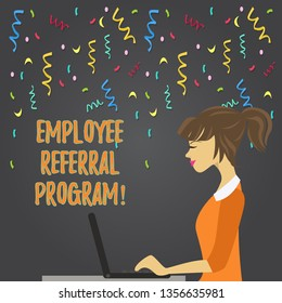 Conceptual hand writing showing Employee Referral Program. Business photo showcasing Recommend right jobseeker share vacant job post Strip Size Lined Paper Sheet Hanging Using Blue Clothespin.