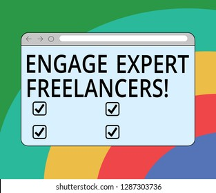 Conceptual hand writing showing Engage Expert Freelancers. Business photo text Hiring skilled contractors for a short time work Monitor Screen with Progress Control Bar Blank Text Space.