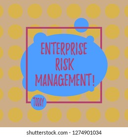Conceptual hand writing showing Enterprise Risk Management. Business photo text analysisage risks and seize business opportunities Blank Oval photo Abstract Shape inside a Square Outline.
