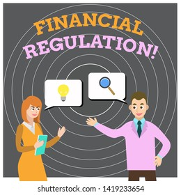 Conceptual hand writing showing Financial Regulation. Business photo showcasing aim to Maintain the integrity of Finance System Business Partners Colleague Jointly Seeking Problem Solution.