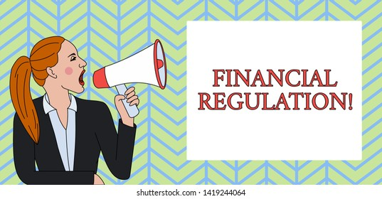 Conceptual hand writing showing Financial Regulation. Business photo text aim to Maintain the integrity of Finance System Woman Jacket Ponytail Shouting into Loudhailer Rectangular Box.