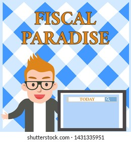 Conceptual hand writing showing Fiscal Paradise. Business photo text The waste of public money is a great concern topic Male Speaker Screen with Search Tool on Screen Presentation.