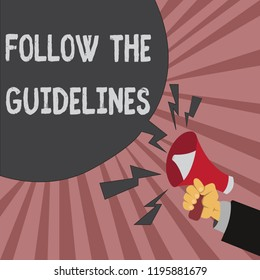 Conceptual hand writing showing Follow The Guidelines. Business photo showcasing Manual of Style Follow a Specified Rule Accordingly