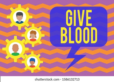 Conceptual hand writing showing Give Blood. Business photo showcasing demonstrating voluntarily has blood drawn and used for transfusions Gearshaped picture frame family ornament Whole Family photo.