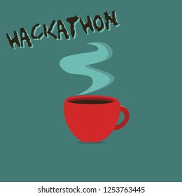 Conceptual hand writing showing Hackathon. Business photo showcasing event where large number of showing engage in programming