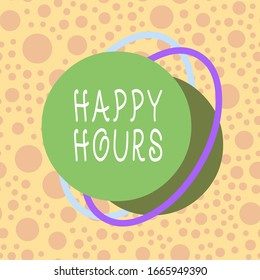 Conceptual hand writing showing Happy Hours. Business photo showcasing when drinks are sold at reduced prices in a bar or restaurant Asymmetrical format pattern object outline multicolor design.