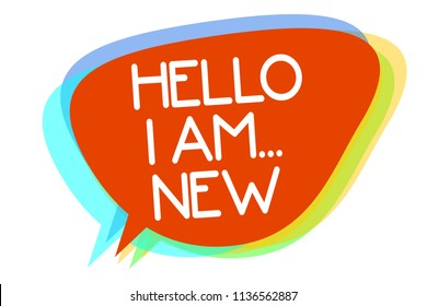 Conceptual hand writing showing Hello I Am... New. Business photo showcasing Introduce yourself Meeting Greeting Work Fresh worker School Multiline text layer design pattern red background think.