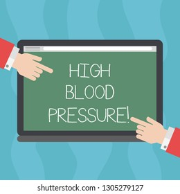Conceptual hand writing showing High Blood Pressure. Business photo text force pushing against walls of your blood vessels Hu analysis Hands Pointing on a Blank Color Tablet Screen.