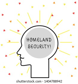 Conceptual hand writing showing Homeland Security. Business photo showcasing federal agency designed to protect the USA against threats Outline Silhouette Human Head Surrounded by Light Rays Blank.