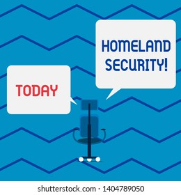 Conceptual hand writing showing Homeland Security. Business photo text federal agency designed to protect the USA against threats Wheeled work chair with three wheels and arms presenting speech.