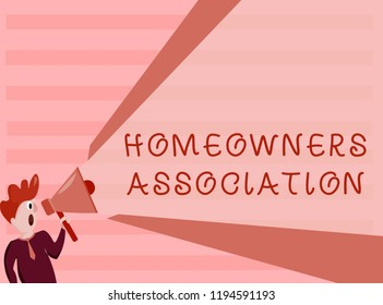 Conceptual hand writing showing Homeowners Association. Business photo showcasing Organization with fee for upkeeps of Gated Community