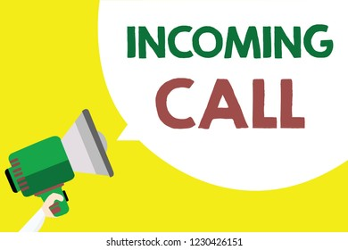 Conceptual hand writing showing Incoming Call. Business photo text Inbound Received Caller ID Telephone Voicemail Vidcall Man holding megaphone loudspeaker speech bubble yellow background.