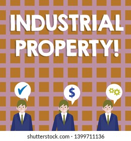 Conceptual hand writing showing Industrial Property. Business photo showcasing the intangible ownership of a trademark or patent Businessmen has Speech Bubble with Optimization Cost Icons.