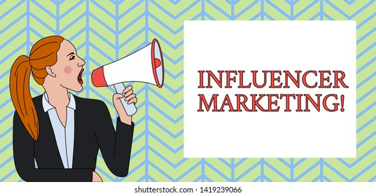 Conceptual hand writing showing Influencer Marketing. Business photo text Endorser who Influence Potential Target Customers Woman Jacket Ponytail Shouting into Loudhailer Rectangular Box.
