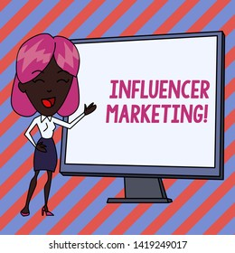 Conceptual hand writing showing Influencer Marketing. Business photo showcasing Endorser who Influence Potential Target Customers White Female in Standing Pointing Whiteboard Presentation.