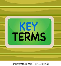 Conceptual hand writing showing Key Terms. Business photo showcasing Words that can help a demonstrating in searching information they need Board rectangle white frame empty fixed color surface plank.
