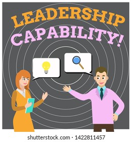 Conceptual hand writing showing Leadership Capability. Business photo showcasing what a Leader can build Capacity to Lead Effectively Business Partners Colleague Jointly Seeking Problem Solution.