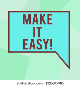 Conceptual hand writing showing Make It Easy. Business photo text Smart approach Effortless Free from worries or difficulties Blank Deformed Color Round Shape with Small Circles.