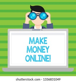 Conceptual hand writing showing Make Money Online. Business photo text Business Ecommerce Ebusiness Innovation Web Technology.