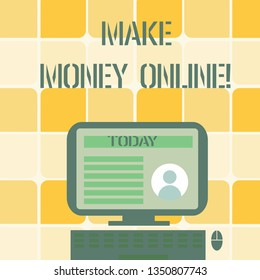 Conceptual hand writing showing Make Money Online. Business photo text making profit using internet like freelancing or marketing Computer Mounted on Stand with Online Profile Data on Screen.