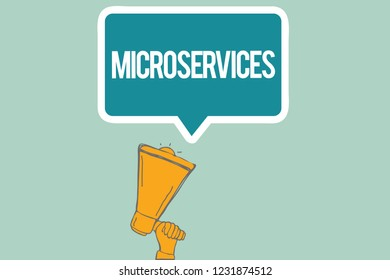 Conceptual hand writing showing Microservices. Business photo text Software development technique Building single function module