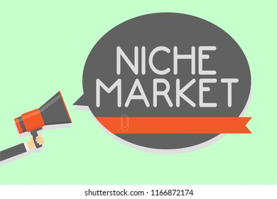 Conceptual hand writing showing Niche Market. Business photo showcasing Subset of the market on which specific product is focused Man holding megaphone loudspeaker speech bubble message loud.