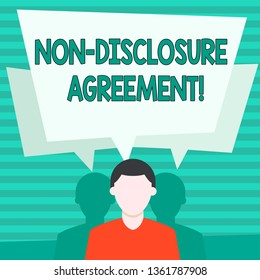 Conceptual hand writing showing Non Disclosure Agreement. Business photo showcasing parties agree not disclose confidential information Faceless Man has Two Shadows with Speech Bubble Overlapping.