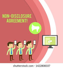 Conceptual hand writing showing Non Disclosure Agreement. Business photo showcasing Legal Contract Confidential Material or Information SMS Email Marketing Media Audience Attraction PC Loudspeaker.